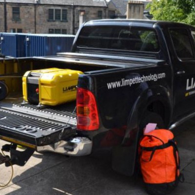 Limpet Lift system fits in the back of a truck